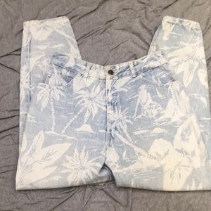 "Vintage BONGO jeans floral Hawaiin  28"" waist"